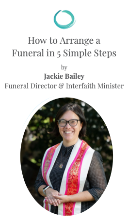 A picture of the brochure 'How to Arrange a Funeral in 5 Simple Steps' with a photo of Jackie Bailey on the cover.